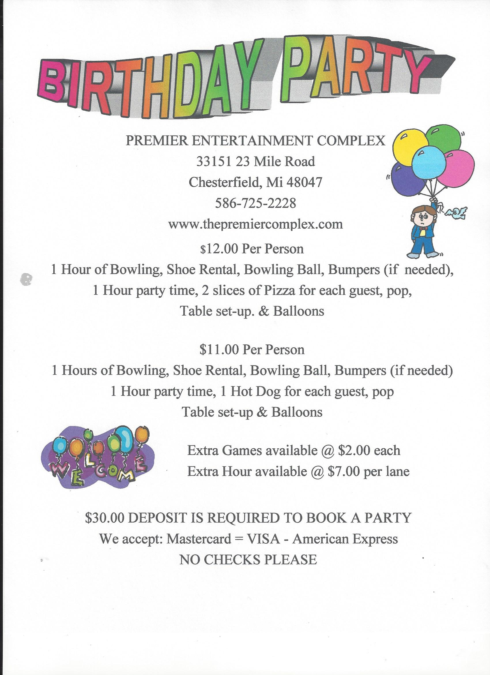 Birthday Party Ideas | Kids Parties | Packages | Premier Lanes | New ...